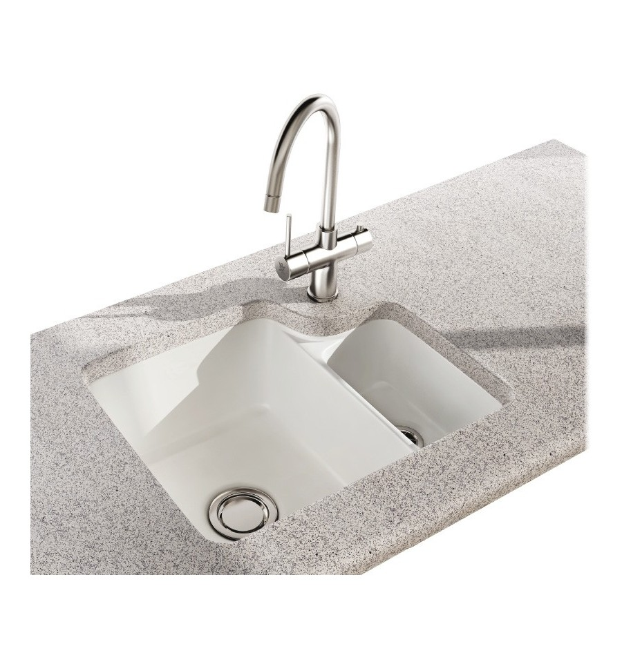 Carron phoenix carlow 150 ceramic undermount bowl half - Undermount ceramic kitchen sink ...