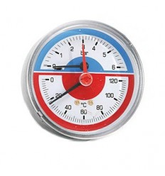 "Pressure & Temperature Gauge Back Connection 1/2"" X 80mm"