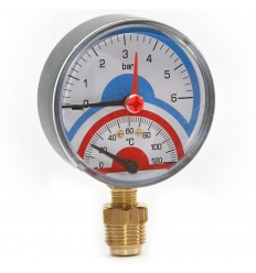 "Pressure & Temperature Gauge Vertical Inlet 1/2"" X 80mm"