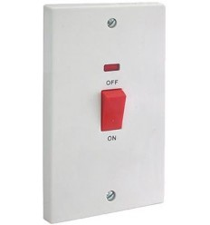 45A Double Pole Switch With Neon (Tall Plate)