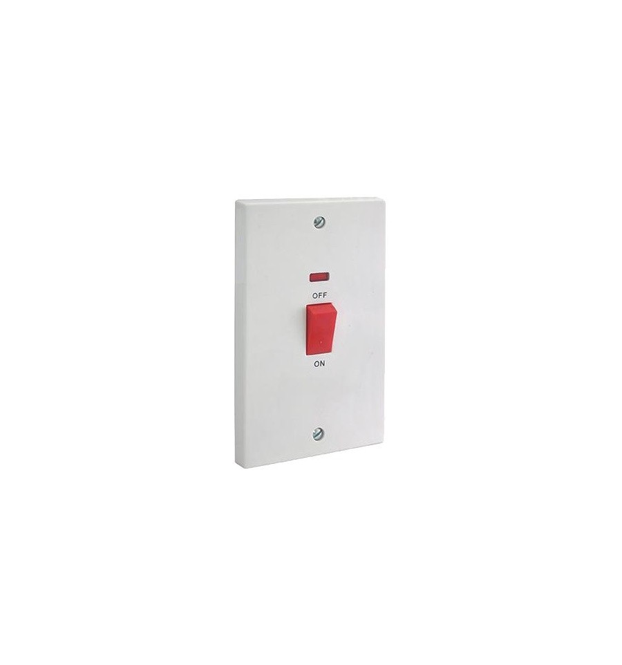 Electrical 45A Double Pole Switch With Neon (Tall Plate)