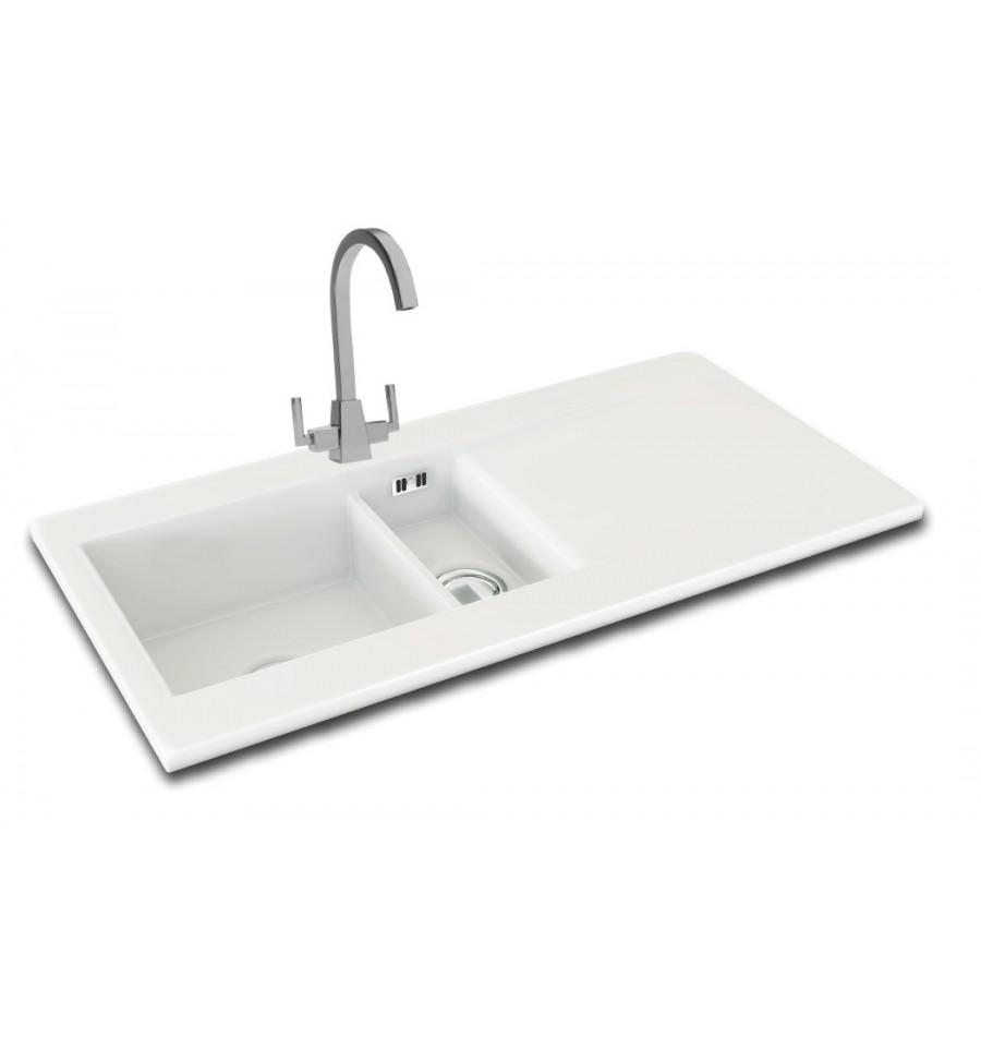Kitchen Sink White: Carron Phoenix Sapphira 150 Ceramic Inset Bowl & Half