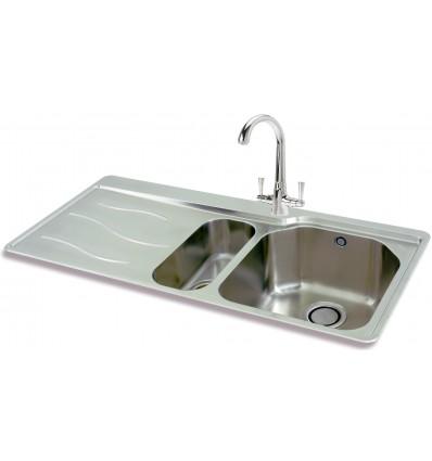 Carron Phoenix Maui 150 Stainless Steel Bowl & Half Inset Kitchen Sink
