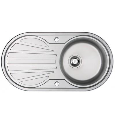 Sapphire Round Single Bowl & Drainer Inset Kitchen Sink Reversible