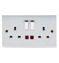 Electrical 2 Gang 13A Switched Socket With Neon