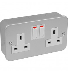 Electrical 2 Gang 13A Metal Switched Socket