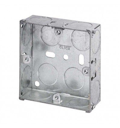 Electrical 1 Gang 47mm Deep Galvanised Steel Pattress Box