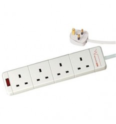 Electrical 2 Metre 4 Gang Surge Protected Extension Lead