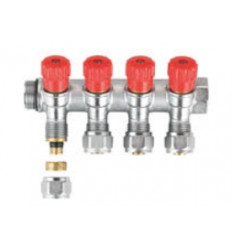 "MHS Multilayer Manifold & Valves Red 4 port 3/4""X16MM"